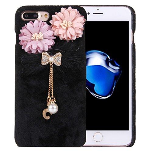 iPhone Case Cover Per iPhone 7 Custodia protettiva copertura del PC panno della peluche Inoltre Fiore 3D con catena pendente Diamante Encrusted Bowknot ( Color : Black )