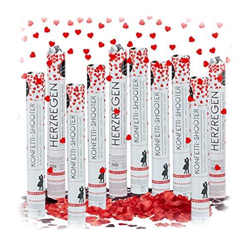 XXL Hochzeits DEKO Set, 5000 x Rosenblätter rot zum Streuen, 10 x Party Popper Herz-Konfetti metallic, Streudeko