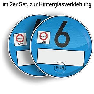 AufkleberDealer.de Umweltplakette Euro 6 Blau im 2er Set, Spaßartikel zur Hinterglasverklebung Feinstaubplakette Euro 6