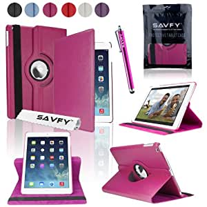 SAVFY New Apple iPad Air (2013 Version) HOT PINK Premium PU Leather 360 Degree Rotating Stand Multi-Function Case Cover Wallet Pouch for Apple iPad Air with Built-in Magnetic Auto Sleep Wake Feature, EXTRA Gift: SAVFY Stylus Pen + SAVFY Screen Protector Film (Available in Multiple Colors)