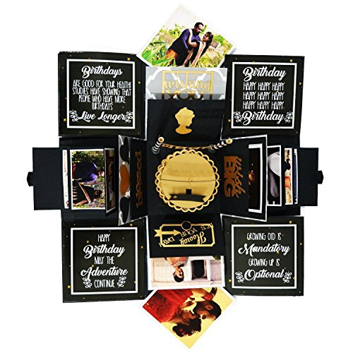 Decut Explosion Box for Birthday 3 Layered Handmade Birthday Explosion Box DIY Accessories Kit (Gold and Black)