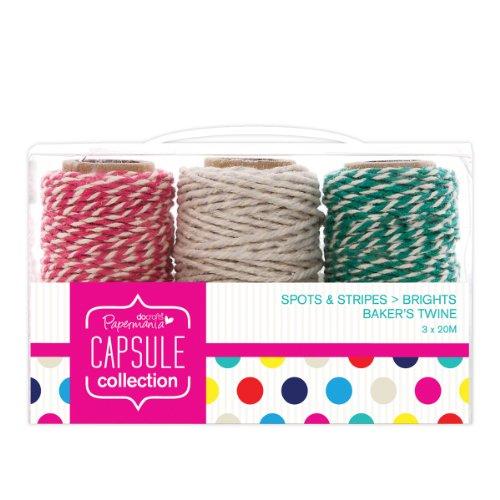 Papermania Capsule Spots and Stripes - Rollo de cordón de pastelero (20m, 3 unidades), multicolor