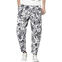Zhhlinyuan Hombre y Mujer Harem harén Hippie Boho Aladdin Yoga Pantalones Mens Summer Wide Leg Cotton Baggy Harem Pants Trousers