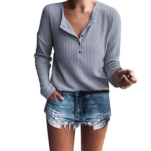 KUDICO Damen Tops Sexy V Neck Rib Strick Knopf lässige Lange Ärmel Henley Shirt Bluse Tunic Sweater Nach Oben, Angebote! (Grau, EU-40/CN-XL)