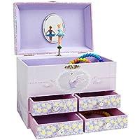JewelKeeper Caja de Música Grande para Joyas para Niñas, con Flores Púrpuras y Cisnes Blancos, Equipada de 4 Cajones de Almacenamiento - Melodía del Lago de los Cisnes