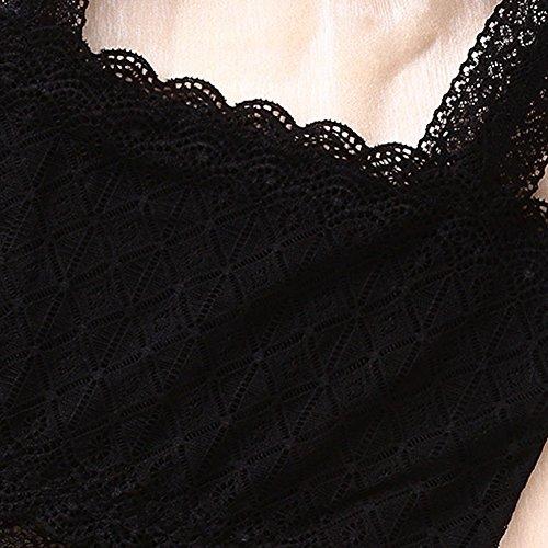 La Cabina Femme Sexy Top Haut T-Shirt Blouse Débardeur D'Été Ajouré en Dentelle sans Manche pour Soirée Cocktail Party Plage Noir