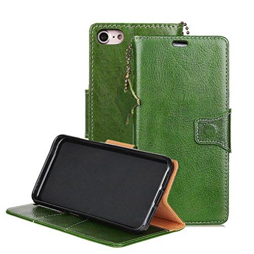 iPhone 7 Hülle,iPhone 8 Hülle, Echt Leder Tasche Handyhülle im Book style mit Magnet Kartenfächer Standfunktion für iPhone 7 / iPhone 8 Tasche - Grün