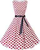 bbonlinedress 50s Retro Schwingen Vintage Rockabilly Kleid Faltenrock White Red Big Dot S