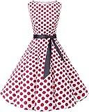 bbonlinedress 50s Retro Schwingen Vintage Rockabilly Kleid Faltenrock White Red Big Dot S