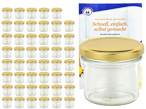MamboCat 48er Set Sturzgläser 125 ml mit Goldenem Deckel to 66 inkl. Diamant Gelierzauber Rezeptheft Marmeladengläser Einmachgläser Einweckgläser