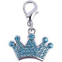 Llavero con colgante de corona de diamantes de imitación para perro, accesorios para decoración de mascotas