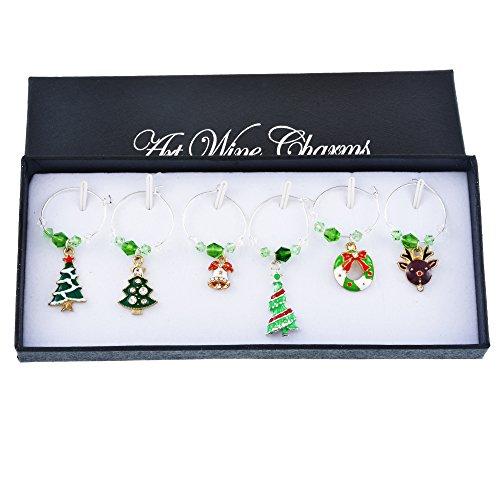 Holove 6 Stück Weinglas-Charms Ringe Marker Weihnachten Party Bar Tischdekoration mit Geschenk-Box