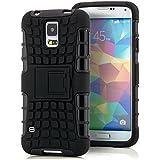 Saxonia Outdoor Silikon Schutzhülle für Samsung Galaxy S5 / S5 Neo Hybrid Case Handyhülle Schwarz