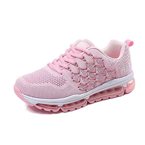 BETY Herren Damen Sportschuhe Laufschuhe mit Luftpolster Turnschuhe Profilsohle Sneakers Leichte Schuhe Pink 38