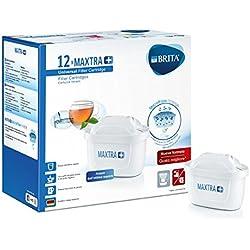 Brita Maxtra 1025126Lot de 12filtres plus pour carafe filtrante, plastique, blanc, 5.7x 10x 7.8cm