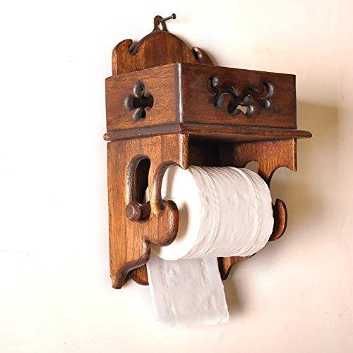 Portarrollos con portarollos de cocina creativa de cuarto de baño de aromas, Montaje en pared Madera-retro