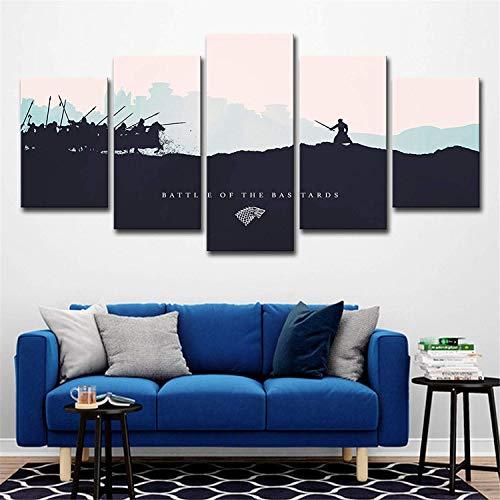 Impreso Lienzo Salón Moderno HD Decoración para El Hogar 5 Panel Película Juego De Tronos Imágenes Pintura Modular Wall Art Poster,B,40x60x2+40x80x2+40x100x1