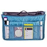 Organiseur de sac à main /sac de rangement intérieur/sac de rangement intérieur pour grand sac à main ou sac de voyage Forfait d'admission Voyage L 28.5X 18.6 X 8.5(CM)Effacer & Blue...