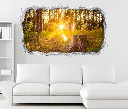 3D Wandtattoo Sonnenaufgang Wald Sonne Landschaft Wand Aufkleber Durchbruch Stein selbstklebend Wandbild Wandsticker 11N663, Wandbild Größe F:ca. 97cmx57cm