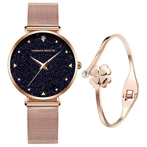 UEOTO Damen Uhr Analog Quarz Armbanduhr mit Roségold Edelstahl Milanese Armband, 3ATM Wasserdicht Damenuhren mit Blau Sternenhimmel-Zifferblatt für Frauen