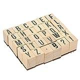 Francobolli ABC in legno–pezzi Set punzoni lettere dell' alfabeto e simboli–legno montato timbri di gomma per la creazione di biglietti, lavoretti e scrapbooking