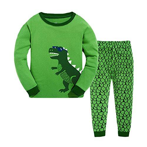 Qtake Fashion Jungen Schlafanzug Baumwolle Lange Herbst Winter Dinosaurier Kinder Pyjama (Dinosaurier-kurz-schlafanzug)