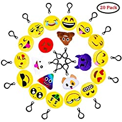 QMAY Emoji Llavero Lovely Emoji llaveros, 20 Pack Mini Emoji Plush Pillow Face Expression Bag Accesorios Decoraciones para niños Fuentes de Fiesta Favors and
