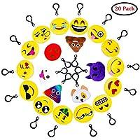 QMAY Lot DE 20 Mini Emoji Porte-clés en Peluche Mignon Émoticône Emoji Emoji Sac à Dos Pendentif pour Décorations Enfants Cadeau de Fête Noël Party ,soirée ,Anniversaire,Cadeau de Pâques