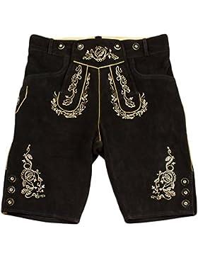 Herren Trachten Lederhose, Kurze Lederhose, Trachtenhose in braun oder schwarz mit Hosenträger, hochwertige und...