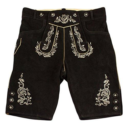 Herren Trachten Lederhose, Kurze Lederhose, Trachtenhose in braun mit Hosenträger (52, Schwarz)