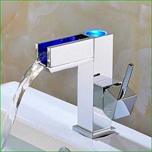 YSRBath Moderne Waschbecken Waschtischarmatur Antike Kupfer Temperaturregelung Three-Color Heiße und Kalte LED Mischbatterie Bad Küche Wasserhahn Badarmatur