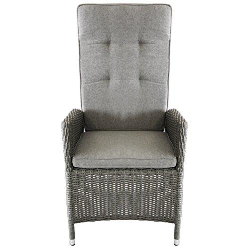 Lounge Polyrattan Garten Sessel Rattansessel Relaxsessel, Rückenteil stufenlos Verstellbar, Grau Meliert + Sitzauflage Grau