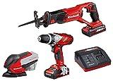 Einhell Maschinen/Werkzeug-Set TE-TK 18 Li Power X-Change (Lithium Ionen, 18 V, Bohrschrauber, Säbelsäge,Multischleifer, inkl. 2 x 1,5 Ah Akku und Ladegerät)