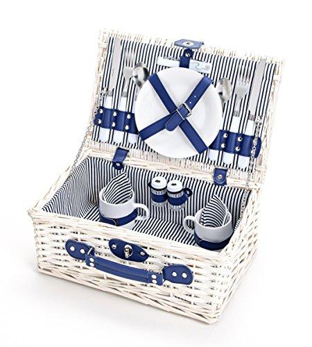 Picknickkoffer Für 2 Personen Aus Weide, 16-Teilig - Maritim Edition - Picknickkorb Mit Deckel Geflochten, Blau / Weiß