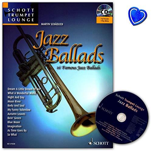 Jazz Ballads–16famosos baladas para trompeta de la serie Schott Trumpet Lounge– libro de Partituras con CD y colorida pinza para partituras con forma de corazón–ED21320-9783795746827
