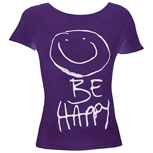 hot-hanger-girls-short-sleeve-be-happy-tshirt-print-top-tee-13-yrs-purple