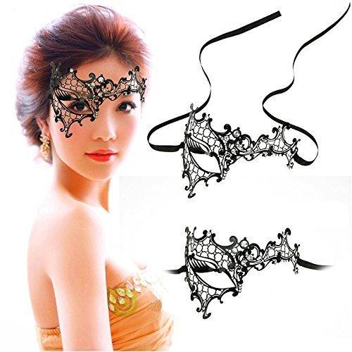 Gearmax® Metall Schwarz venezianischen Maskerade-Maske für Frauen mit Kristallen Halbaugenmaske (Schwarz mit Weißstraß)