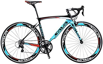 SAVA Bicicleta de Carretera de Fibra de Carbono 700C SHIMANO 5800 22-Velocidad Sistema Modelo Actualizado Bicicleta ultraligera