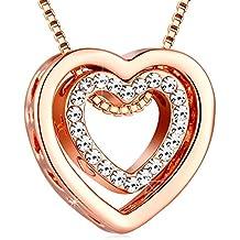 Collar Mujer Plata de Ley 925 ¨I Love You¨ Colgante de doble corazón Regalo Original para Mujer con Caja Hermosa de Regalo Cadena 45cm-50cm