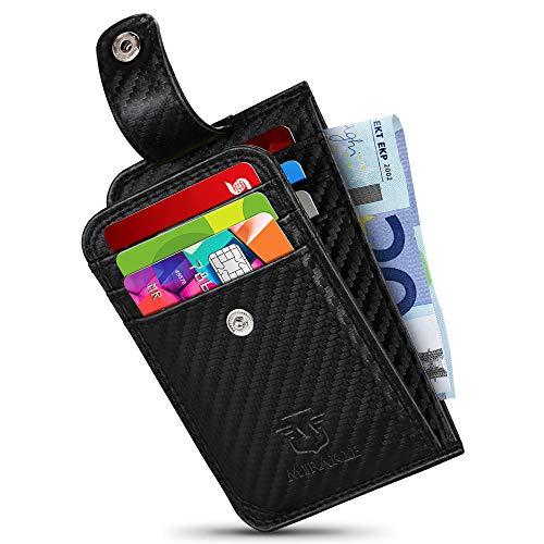 Mirakle Portafoglio Uomo Piccolo Sottile, Porta Carte Di Credit con Portamonete, Nero Mini fibra di carbonio Portafoglio con Protezione RFID Porta Tessere Slim Tascabile per Contanti Regalo