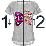 BEZLIT Mädchen Wende-Pailletten T-Shirt Tollem Schmetterling Motiv 22032 Grau Größe 140 Vergleich