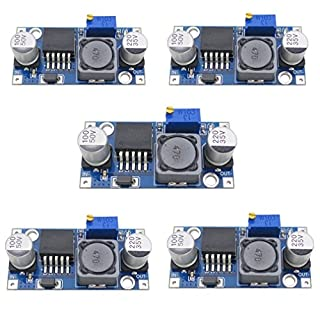 5x Demarkt Stromversorgungsmodul Power Module Einstellbare Buck-Modul Blau LM2596S-ADJ 1.5-35V 3A 43mmx21mmx14mm