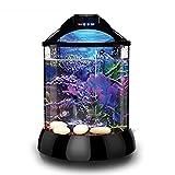 D@Qyy Desktop-Zylinder-Acryl-Aquarium - Free Water Mini Kleines Wohnzimmer-Haushalts-Aquarium mit Eingebauten LED-Leuchten und Wasserpumpe,1Gallon