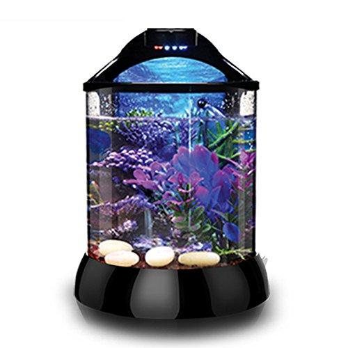 D@Qyy Desktop-Zylinder-Acryl-Aquarium - Free Water Mini Kleines Wohnzimmer-Haushalts-Aquarium mit Eingebauten LED-Leuchten und Wasserpumpe,2Gallons (2 Gallon Tank)
