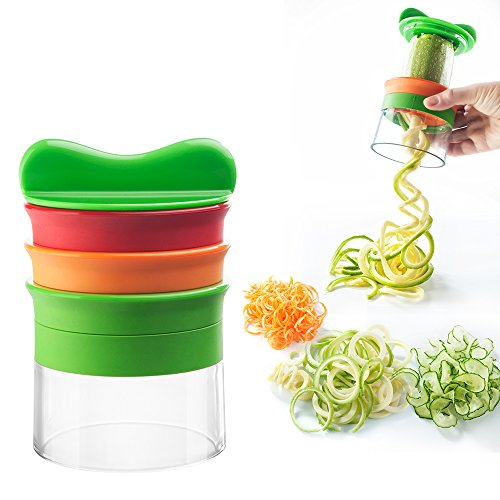 EETCK 3 en 1 Cortador de Verduras en Espiral Multifuncional Rallador con 3 Cuchillas en Espiral para patatas/pepinos/calabacín/rábanos
