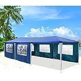 Hengda® Partyzelt Pavillon Hochwertige 100% Wasserdicht, Vollverzinkte Stahlkonstruktion mit Verbolzung, Reißverschluss Seitenteilen (3x9 Blau)