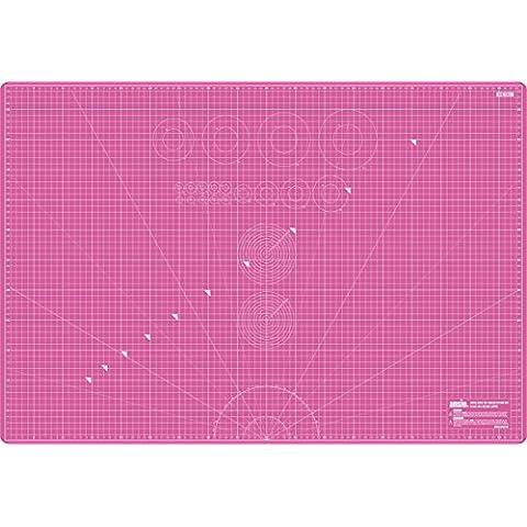 Ansio® Tapete para cortar de doble cara con 5 capas y guías para cortar en cm y en pulgadas, de tamaño A1 (90 x 60 cm), rosa y rojo