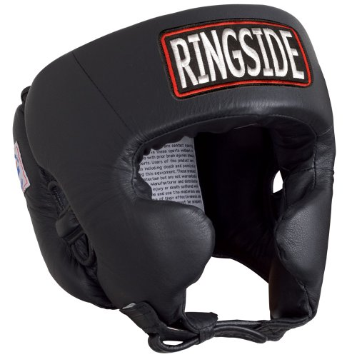 Ringside Competition Boxing Headgear with Cheeks (Black, X-Large)