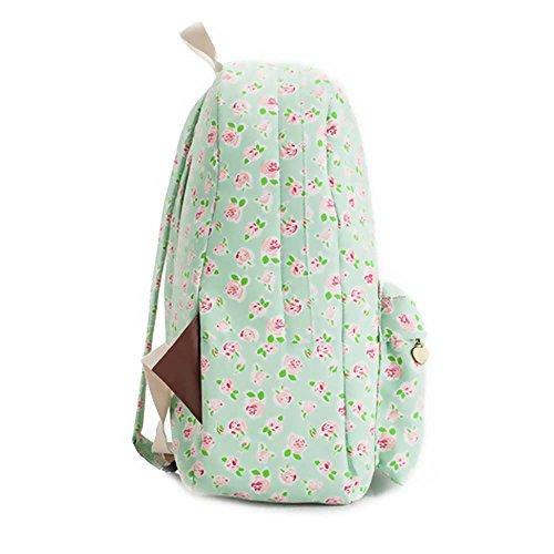 Borsa blu e viola vintage floreale stampato sacchetto di zaino per scuola della borsa del computer portatile dello zaino della tela di canapa per le ragazze delle ragazze delle ragazze Roses pastorali verdi e rosa