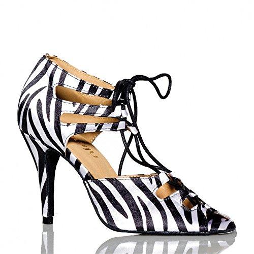 Sqiao-x- Zapatos De Baile, Suave, Cebra En Latin American Latin Stripes, Tango Square Dance Dance Shoes Zebra Stripes (7.5cm)
